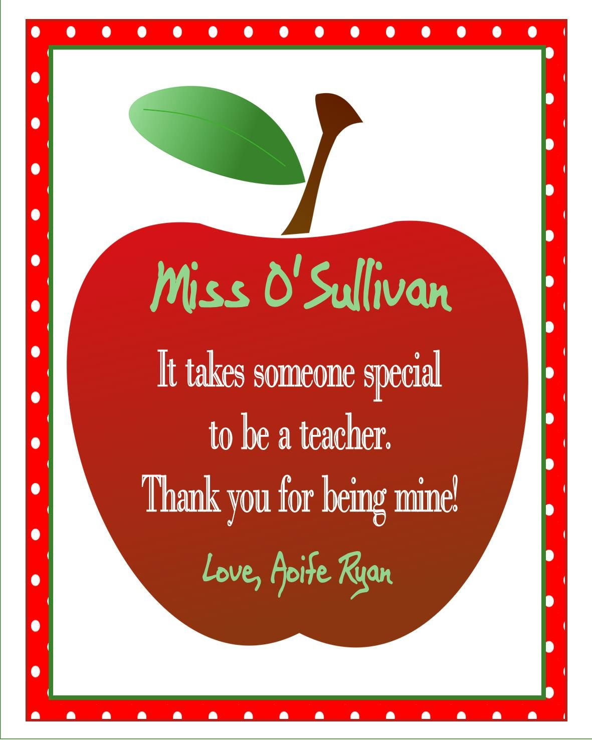 An apple for teacher